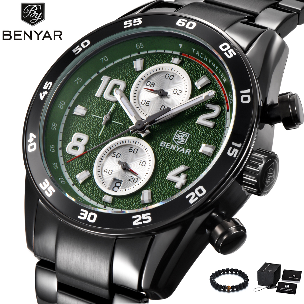 BENYAR New Watches Mens Top Brand Luxury Stainless Steel Band Quartz Watch Business Sport Wrist Watch Men relogio masculino цена