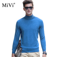 Фотография MIVI Fashion Male Sweaters Cashmere Turtleneck Top Sweater Men Knitted Long Sleeve Pullover Slim 100% Wool Men