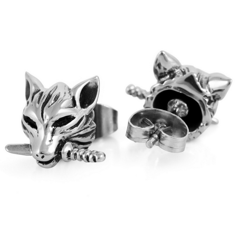 Earrings For Men Wolf Unique Gothic Stainless Steel Studs Fashion Vintage The Trend Accessories Boys Free Shipping In Stud From Jewelry