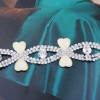 Free shippment! rhinestone heart shape pearl crystal silver chain trim applique,headwear hair trim accessories