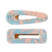 1 Set Acrylic Resin Hair Barrettes Alligator Clips,1pcs Clips Marble Pattern Hairpins Geometric for Wo