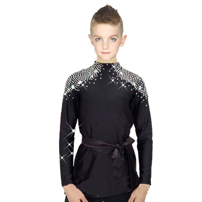 2018 New Ballroom Latin Dance Shirts Kids Boys Men Korean Velvet Long Sleeve Adult Performance Clothing