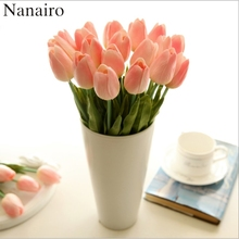 30pcs/lot DIY PU Tulip Artificial Flower Bouquet For Home Wedding Decoration Real Touch Fake Flower Party Festival Supplies