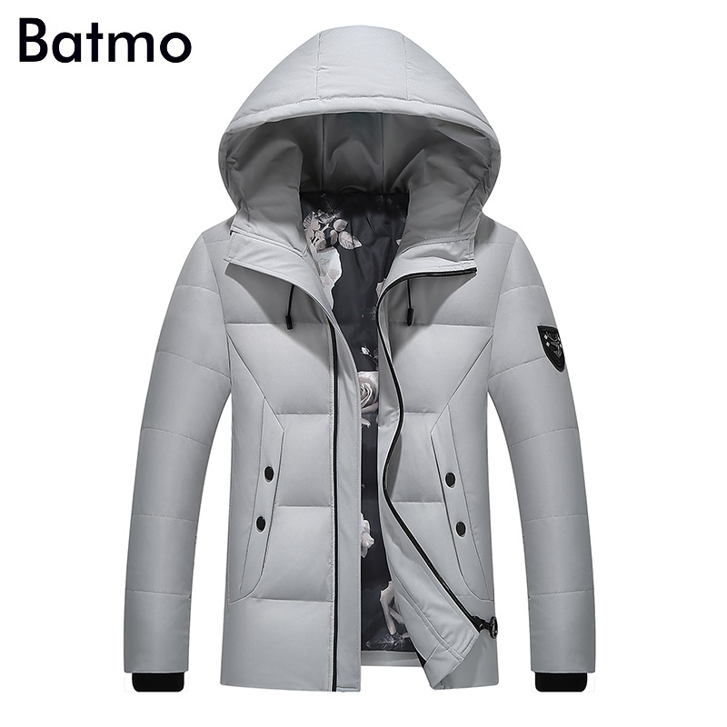 Batmo 2017 new arrival high quality white duck down gray hooded jacket men,winter coat men,Windproof,7088