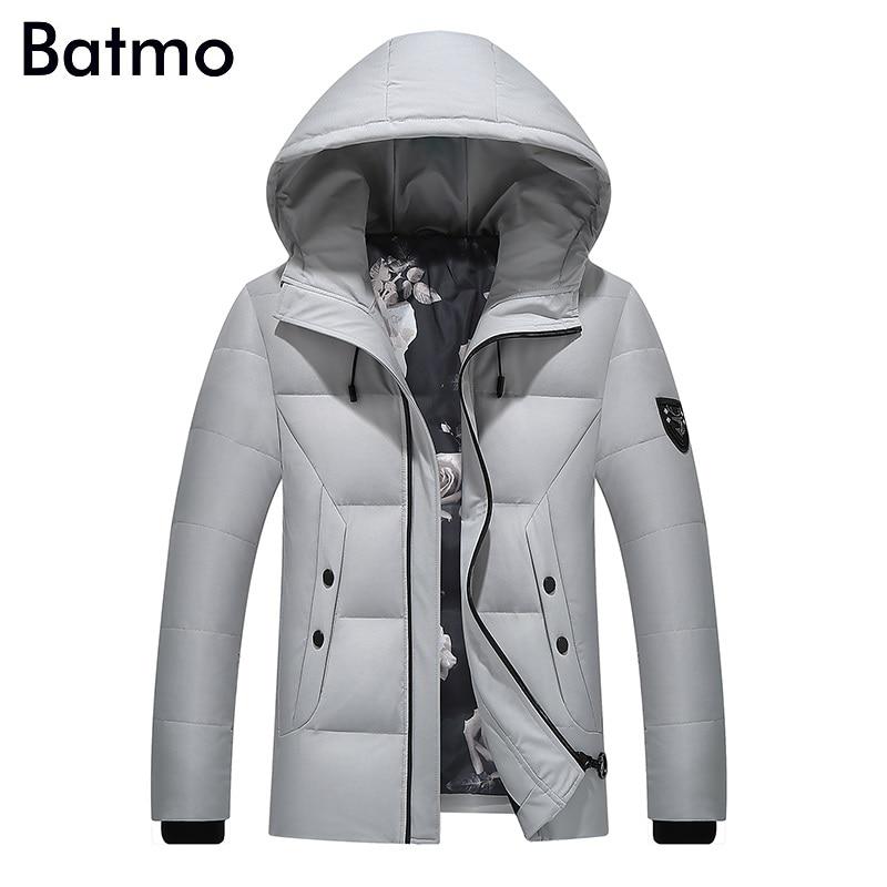 Batmo 2017 new arrival high quality white duck down gray hooded jacket men,winter coat men,Windproof,7088