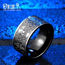 BEIER 316L Stainless Steel Men Soldier Rings For Carving Dsacred Animal Fashion Jewelry Gift  Dropshipping