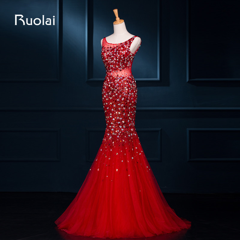 Real Photo Luxurious Heavy Beaded Crystal Sexy Open Back Mermaid   Evening     Dresses   Scoop Tulle Formal Party Prom   Dress   ASAFE9
