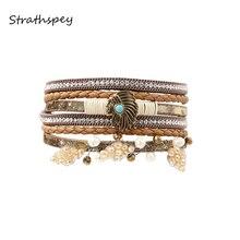 STRATHSPEY pulseras de cuero y brazaletes para mujeres bohemio filas múltiples belleza cabeza de piel estrás envolvente pulsera de cuentas de cristal