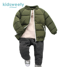 Kidsweety Boys Cotton Wadded Jackets Thick Slim Letter Pattern Patchwork Zipper Stand Collar Boys Baseball Cotton Wadded Jackets