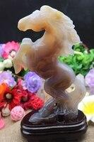 850gNatural Quartz Crystal Yellow Grey Horse Pentium Agate Carving Send The Foundation