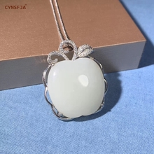 Certified Natural Hetian Jade Inlaid 925 Sterling Silver Handmade Lucky Apple Pendant White High Quality Wonderful Gifts