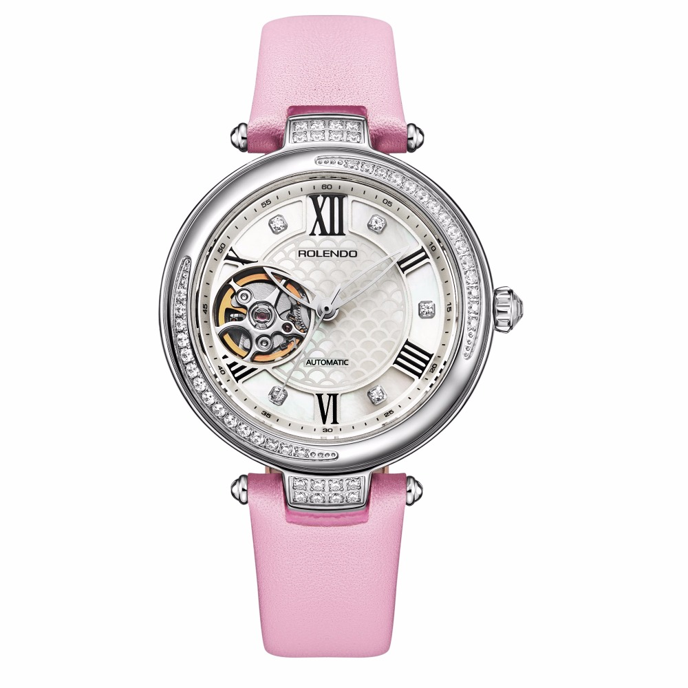 Rolendo 2018 Top Brand Luxury Hot Sale Skeleton Automatic Ladies Watch Steel Material Pink Leather Women Mechanical Watches цена