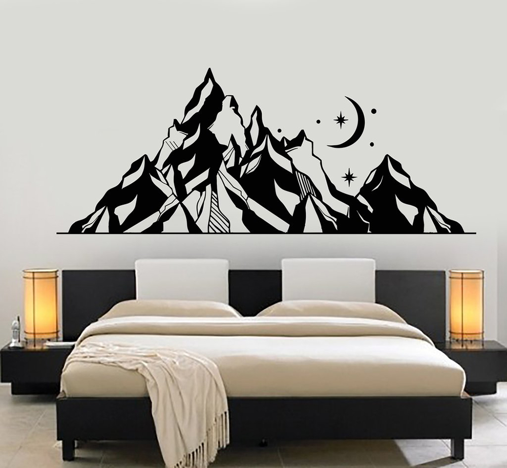 US $11.99 25% OFF|Mountains PVC Wall Decal Landscape Moon Star Art Nature  Wall Stickers Bedroom Decoration Abstract Geometric Mountain Mural D033-in  ...