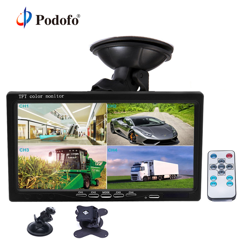 Podofo 7 Split Screen Quad Monitor 4CH Video Input PC Audio Windshield Style Parking Dashboard Car