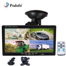 Podofo 7 «Сплит-экран четырехъядерный монитор 4CH видео входной ПК аудио лобовое стекло стиль парковки приборной панели автомобиля заднего вида камеры автомобиля-Стайлинг