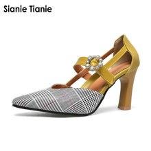 Sianie Tianie houndstooth doce senhora sapatos de verão finos sapatos de salto alto slingback hortelã cor mostarda mulher sandálias sandalia feminina