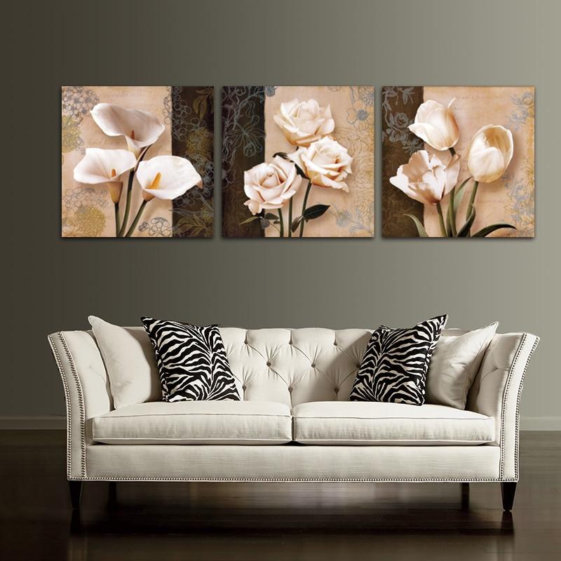 っ3 unidades flor pintura lienzo imagen modular en la pared Cuadros ...