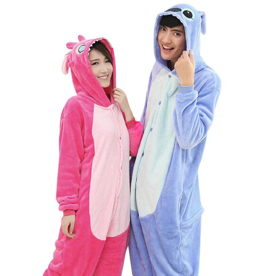 만화 애니메이션 유니섹스 성인 Flano 코스프레 의상 Hot Pink or Blue Stitch Onesie Pajama 할로윈을위한 카니발 마스 파티