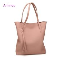 Aminou 2017 Ladies Fashion Bucket Bag Tassel PU Leather Bags Handbags Women Casual Tote Bags Simple