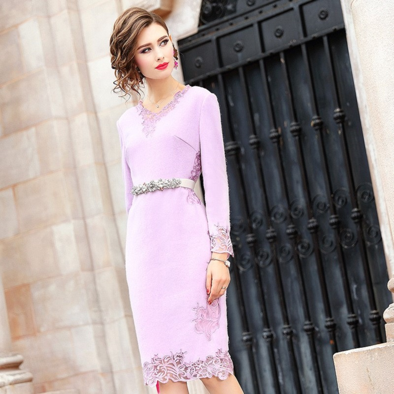 Office Lady wool dress 2019 new Women ladies sexy Full sleeves Party Dress Plus Size winter