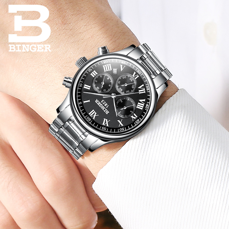 Top Brand Luxury Waterproof Automatic Watch Men Mechanical Watch Sport Casual Watch Full Steel Black Roman Dial Relogio BINGER ultra luxury 2 3 5 modes german motor watch winder white color wooden black pu leater inside automatic watch winder