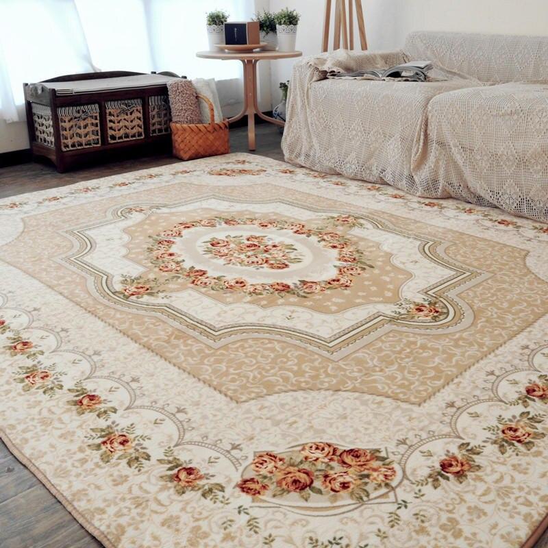 Persia Style tapis doux flanelle Floral imprimé petits tapis salon thé Table tapis tapis anti-dérapant grand tapis tapis salon Dec