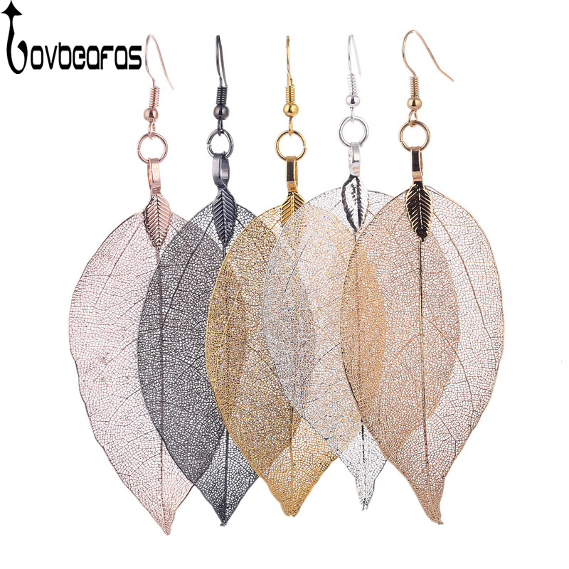 LOVBEAFAS 2017 Fashion Brincos Bohemian Long Earrings Unique Natural Real Leaf Big Earrings For Women Fine Jewelry Gift
