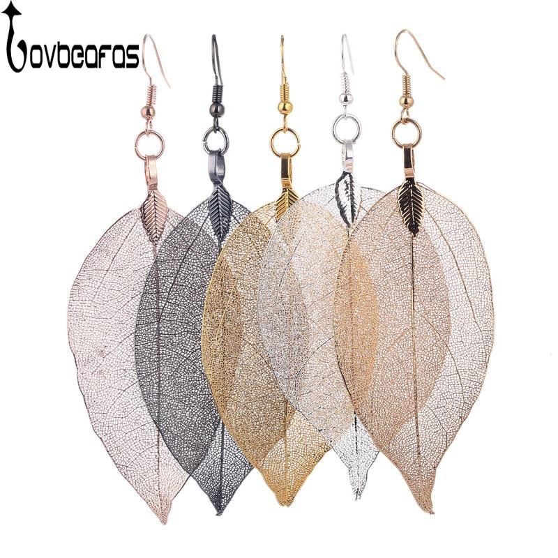 LOVBEAFAS 2018 Fashion Brincos Bohemian Long Earrings Unique Natural Real Leaf Big Boho Earrings For Women Fine Jewelry Gift