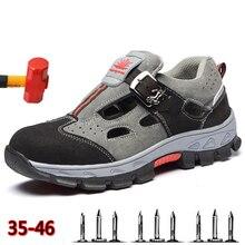 İşçi sigortası ayakkabı sandalet erkek yaz açık nefes Deodorant güvenlik ayakkabıları rahat kaymaz erkek iş çizmeleri