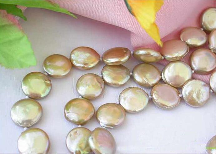 Collier de perles d'eau douce, AAA 3 rangées 12-14mm bijoux de perles de culture Champagne, fleur de coquille, nouvelle livraison gratuite. - 3