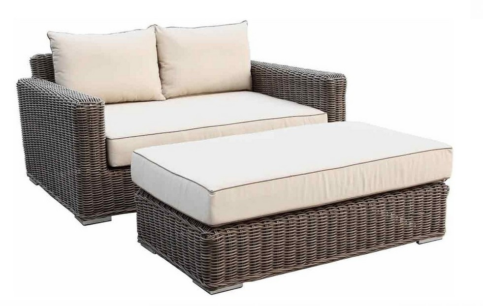 Luxury Home Furniture Round Rattan Loveseat With Ottoman