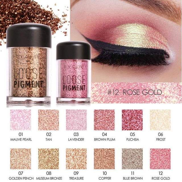 Focallure Rose Gold Loose Pigment Waterproof Long Lasting Shimmer Glitter Powder Metallic Eyes Cosmetic Makeup Eyeshadow