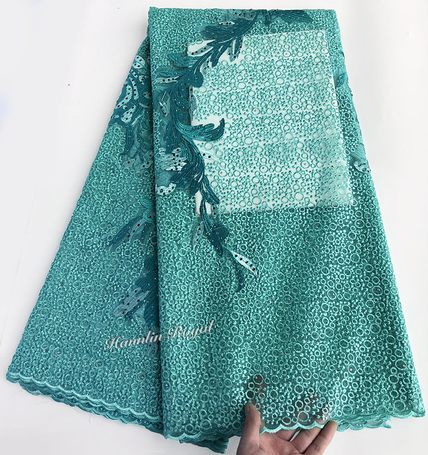 Aqua colore piccoli tondi del ricamo francese merletto Africano del merletto del tessuto di tulle vestito cucito per aso ebi di Alta qualità 5 metri di Buona la scelta-in Pizzo da Casa e giardino su  Gruppo 1