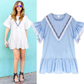 New Fashion Plus Size Women Clothing O-Neck Short Butterfly Sleeve Summer Dresses Lady Solid Color Mini Dress Vestidos TY3145
