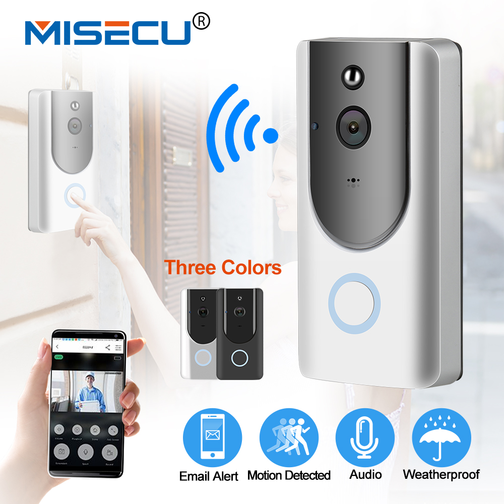 MISECU IP Video Intercom Smart WIFI Doorbell With 720P Camera Phone Wifi Night Vision IR Motion Detection Battery Power Camera new door intercom ip doorbell with 720p camera video phone night vision ir motion detection alarm for ios android wifi doorbell