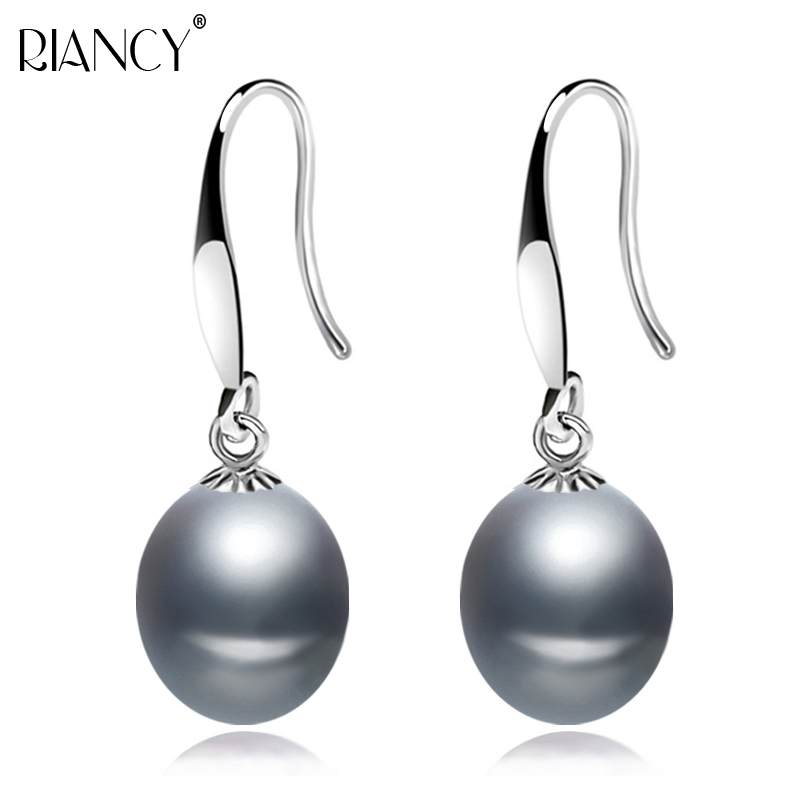 Fashion Freshwater black pearl earring 925 Sterling Silver Drop Earring for Female Wedding Jewelry classic Simple Pearl Jewelry