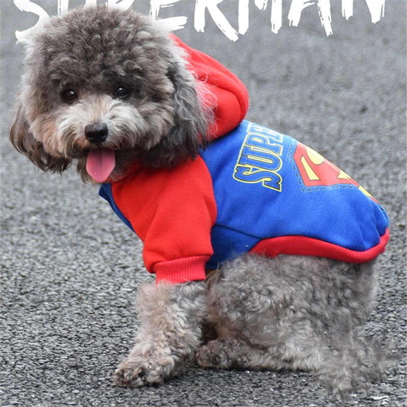 Nieuwe Pet Kat Hond Jas Superheld Kostuum Superman Puppy Pet Capuchon Coat Kleine Hond Kleren Hond Winter Kleding Dierbenodigdheden