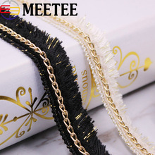 5Yards Gold Silver Chain Embroidered Lace Trim Ribbon Fringe Tassel Lace Trimming Fabric Wedding Dress Curtain DIY Sewing Crafts