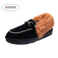 ARANSUE Korean version women boat shoes autumn and winter flats 2018 new chic retro plus velvet shoes fur thick bottom Zapato