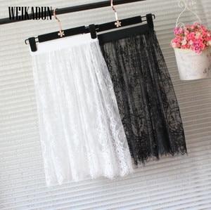 Image 1 - ホット夏の女性のスカートのファッション固体カジュアルメッシュチュールスカート中空アウト鉛筆エレガントな弾性黒、白のスカート d6