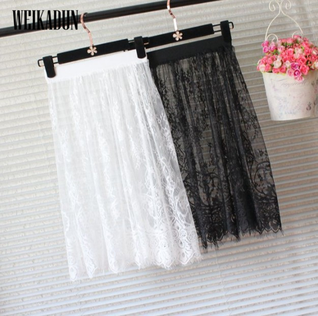 hot Summer Women Lace Skirts Fashion Solid Casual Mesh tulle skirt Hollow Out short Pencil Elegant elastic Black White Skirt D6