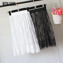 hot Summer Women Lace Skirts Fashion Solid Casual Mesh tulle skirt