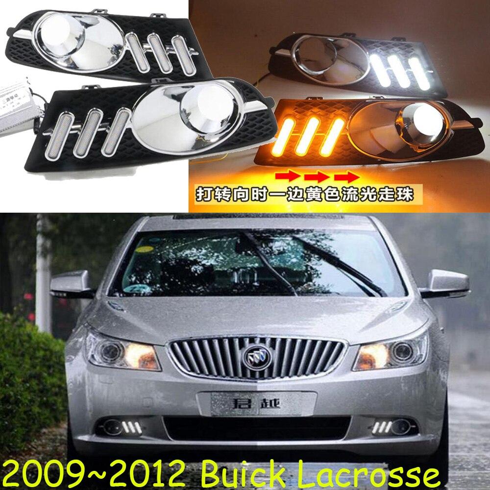 1 комплект, бампер, фара для Buick Lacrosse, дневной свет, 2009 ~ 2012y, автомобильные аксессуары, светодиодные DRL фары для Lacrosse, противотуманная фара