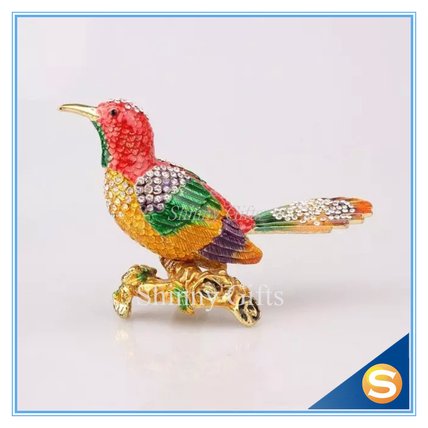 Home Gadgets Bird Trinket Box Hummingbird Handmade Jeweled Enameled Metal Trinket Box