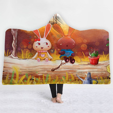 Cartoon Hooded Blanket For Adults Childs 3D Printed Portable Sherpa Fleece Blanket Wearable Warm Throw Blanket For Home Travel plaid magic hooded blanket for home travel picnic 3d printed sherpa fleece blanket wearable warm throw blanket for adults childs