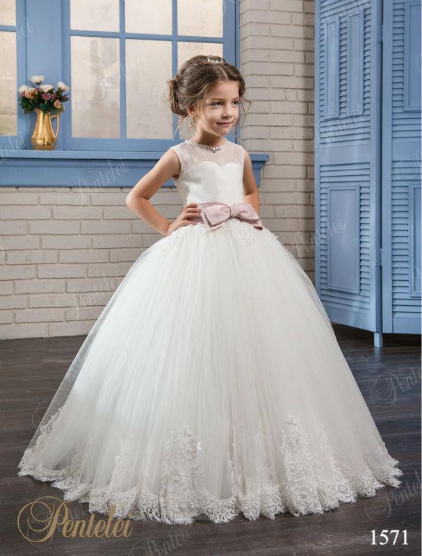 A-Line Flower Girls Dresses For Wedding Gown Lace Kids Beauty Pageant Dresses Ankle-Length Communion Dresses vestido longo