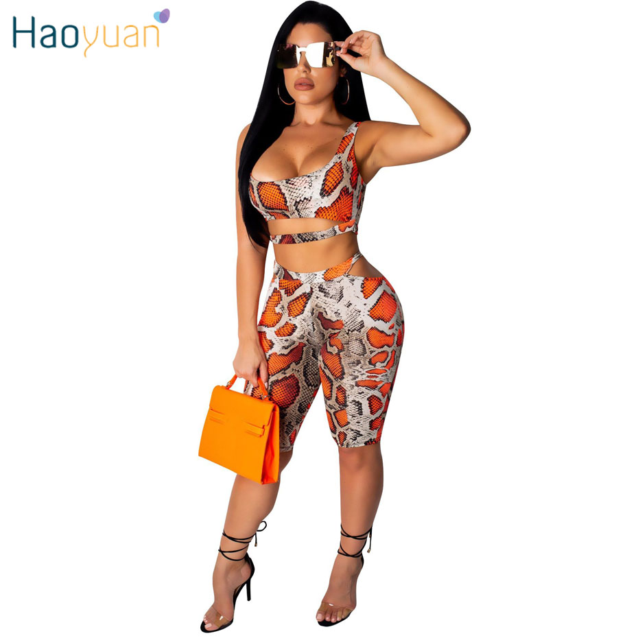 HAOYUAN Snake Print Two Piece Set Crop Top And Bodycon Short Pants Summer Clothes For Women 2 Pcs Biker Shorts Sexy Club Outfits