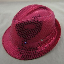 Free Shipping Flashing Light Up Led Fedora Trilby Sequin Unisex Fancy Dress Dance Party Hat