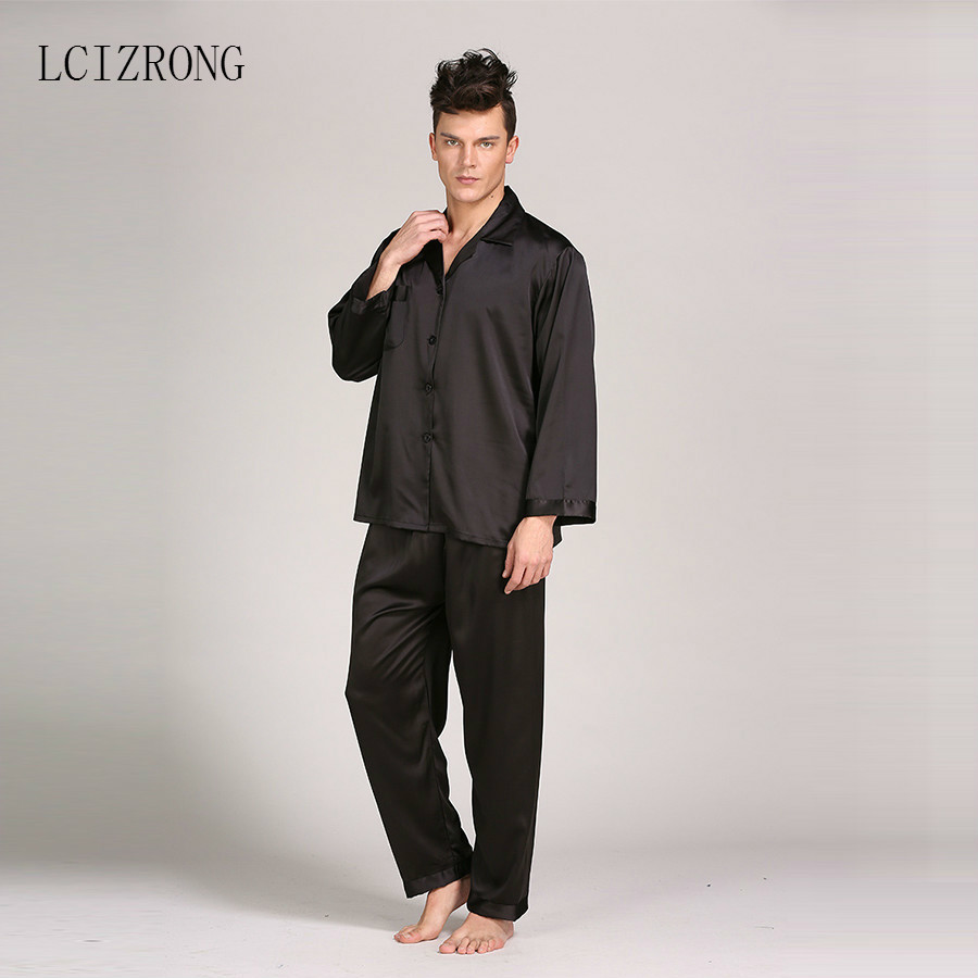 Loose Men's Satin Silk Pyjamas Sets Long Underpants Oversized 3XL Sleepwear Soft Underwear Pajama Home Clothing Nightwear