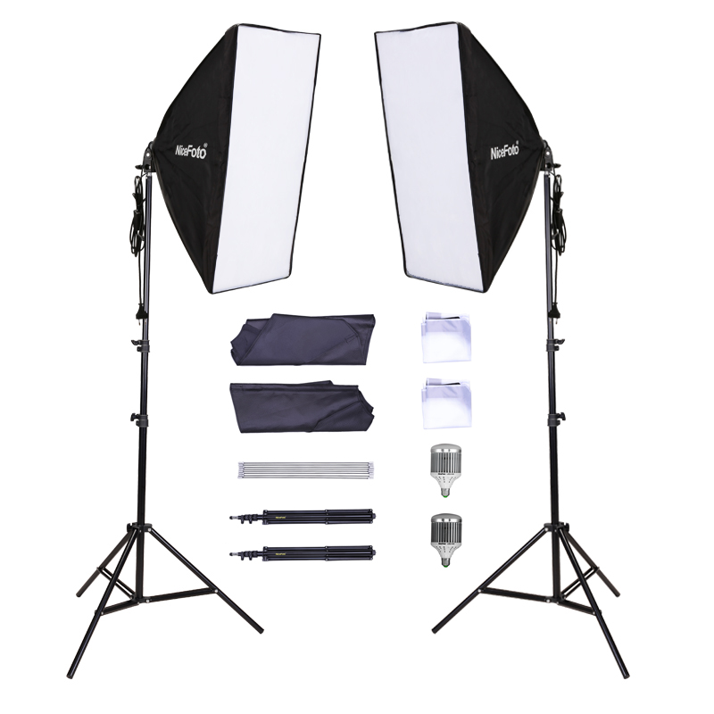 Photo studio kit 2x Nicefoto LED 180 Studio Flash + 50x70cm Softbox + Light Stand Kit